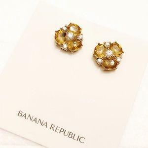 BANANA REPUBLIC canary crystal cluster earringsNWT